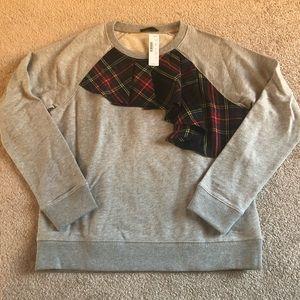 NWT J. Crew Gray Tartan Ruffle Sweatshirt